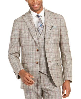 Orange Men's Slim-Fit Brown Plaid Flannel Suit Jacket
