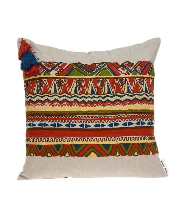 Parkland Collection Zelda Bohemian Multicolor Pillow Cover with Polyester Insert