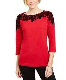 Placed-Print 3/4-Sleeve Top, Created For Macy's