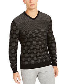 Men's Classic-Fit Metallic Check V-Neck Sweater, Created For Macy's