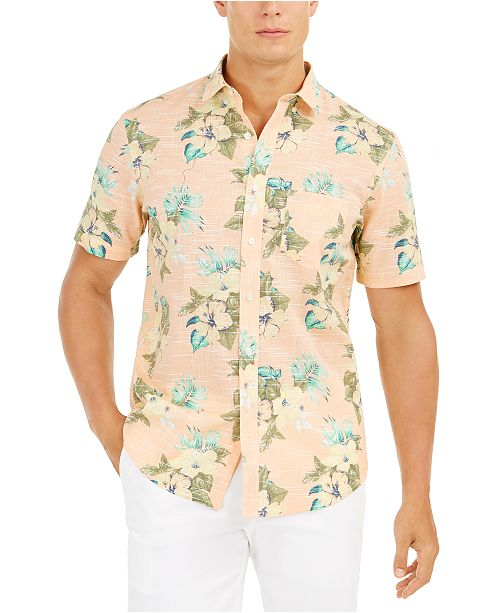 Club Room Men's Regular-Fit Moisture-Wicking Performance Stretch Floral-Print Shirt, Created For Macy's