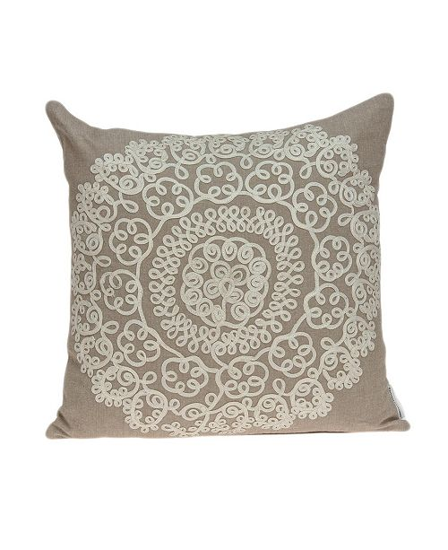 Parkland Collection Arlene Traditional Tan Pillow Cover With Down Insert