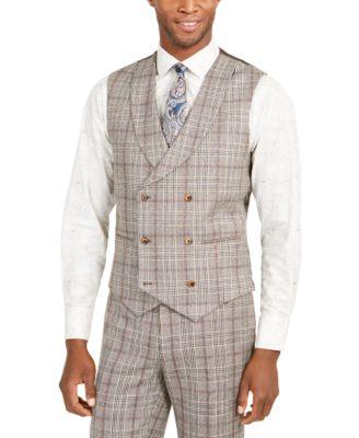 Orange Men's Slim-Fit Brown Plaid Flannel Double-Breasted Suit Vest