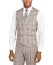 Orange Men's Slim-Fit Brown Plaid Flannel Double-Breasted Suit Vest