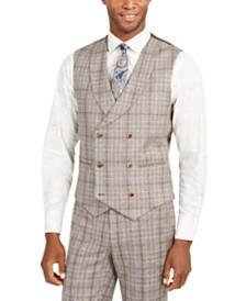 Tallia Orange Men's Slim-Fit Brown Plaid Flannel Double-Breasted Suit Vest