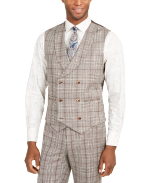 1920s Style Mens Vests Tallia Orange Mens Slim-Fit Brown Plaid Flannel Double-Breasted Suit Vest $125.00 AT vintagedancer.com