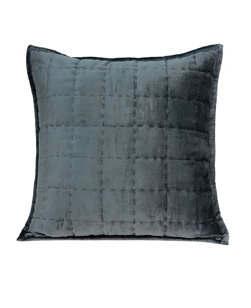 Parkland Collection Anajar Transitional Charcoal Solid Quilted Pillow Cover With Down Insert