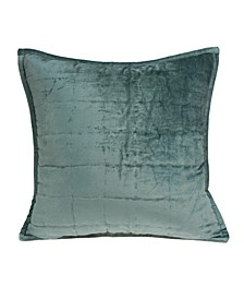 Tusha Transitional Sea Foam Solid Quilted Pillow Cover With Down Insert