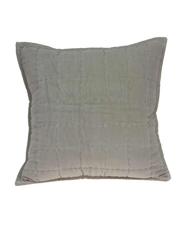 Parkland Collection Kavi Transitional Grey Solid Quilted Pillow Cover with Polyester Insert