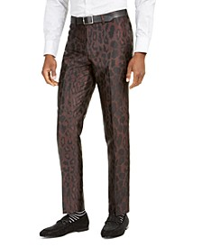 Orange Men's Slim-Fit Brown Leopard-Print Suit Pants