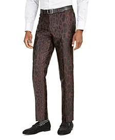 Orange Men's Slim-Fit Brown Leopard-Print Suit Pants