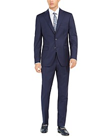 Orange Men's Slim-Fit Stretch Navy Blue Solid Suit