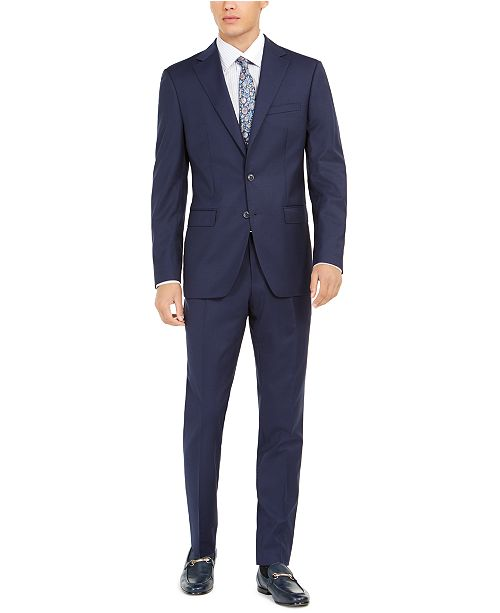 Tallia Orange Men's Slim-Fit Stretch Navy Blue Solid Suit