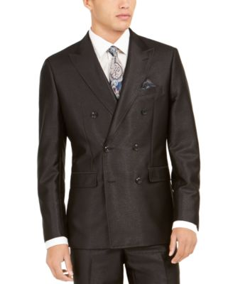 Orange Men's Slim-Fit Black Solid Double-Breasted Suit Jacket