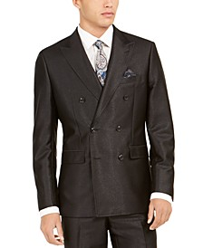 Orange Men's Slim-Fit Black Solid Double-Breasted Suit Jacket