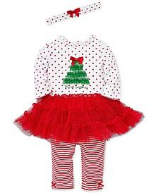 Baby Girls 3-Pc. Headband, Holiday Dress & Striped Leggings Set