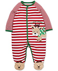 Baby Boys Cotton Striped Reindeer Footed Coverall