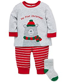 Baby Boys 3-Pc. Bear T-Shirt, Striped Pants & Socks Set