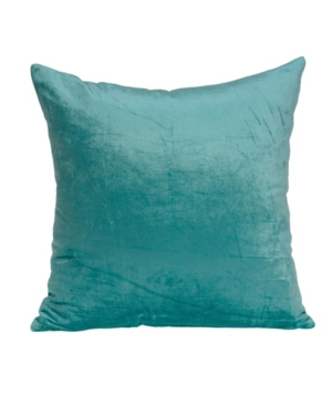 Parkland Collection Pillows CAMILA TRANSITIONAL AQUA SOLID PILLOW COVER WITH POLYESTER INSERT