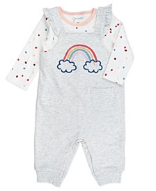Baby Girl 2-Piece Rainbow Tee and Overalls Outfit Set