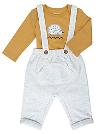 Mac & Moon Baby Boy and Girl 2-Piece Hedgehog Bodysuit and Heather Overall Outfit Set