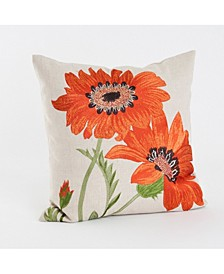 "Embroidered Floral Throw Pillow, 18"" x 18"""