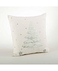 """Metallic Foil Christmas Tree Throw Pillow, 20"""" x 20"""""""