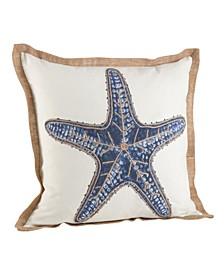 "Star Fish Print Cotton Throw Pillow, 20"" x 20"""