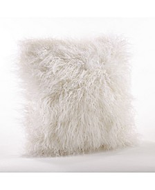 "Mongolian Faux Fur Throw Pillow, 18"" x 18"""