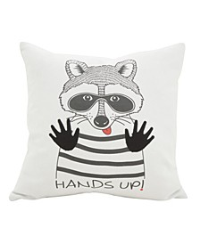 """Racoon Hands Up Message Polyester Filled Throw Pillow, 16"""" x 16"""""""