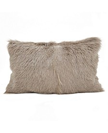 "Glam Goat Fur Polyester Filled Throw Pillow, 12"" x 20"""