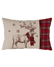 "Festive Reindeer and Plaid Design Throw Pillow, 13"" x 20"""