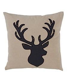 "Reindeer Silhouette Throw Pillow, 18"" x 18"""
