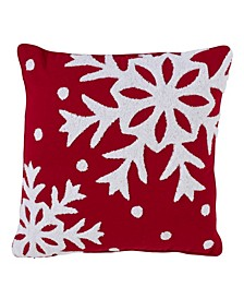 "Polyester and Cotton Blend Accent Pillow with Large Snowflake Design, 16"" x 16"""