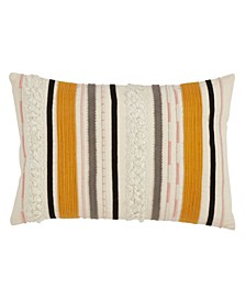 """Corded Boucle Yarn Applique Throw Pillow, 12"""" x 18"""""""
