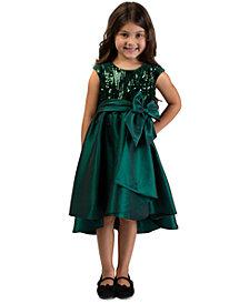 Bonnie Jean Toddler Girls Sequined Taffeta Bow Dress