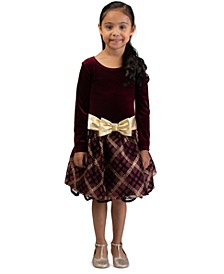 Big Girls Drop Waist Metallic Plaid Dress