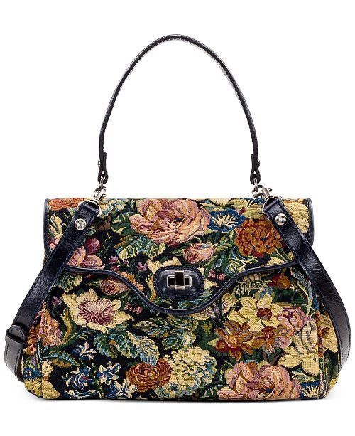 Patricia Nash Woven Floral Tapestry Verga Satchel