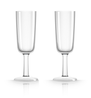 Marc Newson by Palm Tritan Flute Glass with white non-slip base, Set of 2