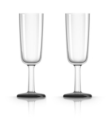 by Palm Tritan Forever-Unbreakable Flute Glass with Black non-slip base, Set of 2