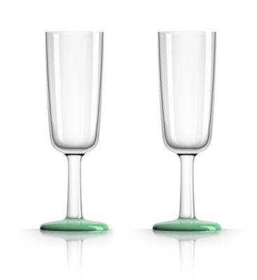 by Palm Tritan Forever-Unbreakable  Flute Glass with Green non-slip base, Set of 2