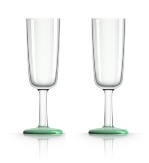 Marc Newson by Palm Tritan Flute Glass with Green non-slip base, Set of 2
