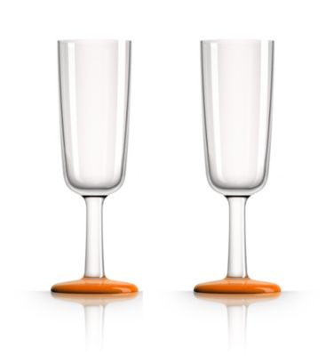 by Palm Tritan Forever-Unbreakable Flute Glass with Orange non-slip base, Set of 2
