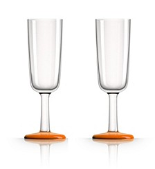 by Palm Tritan Flute Glass with Orange non-slip base, Set of 2