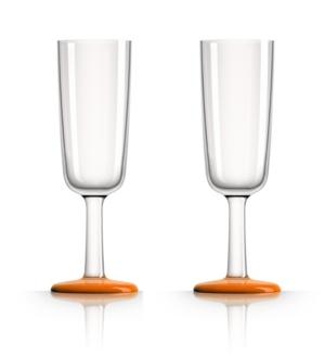 Marc Newson by Palm Tritan Flute Glass with Orange non-slip base, Set of 2