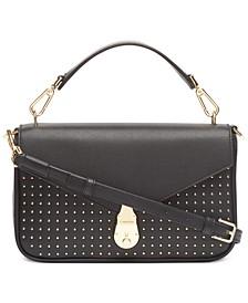 Lock Leather Studded Shoulder Bag