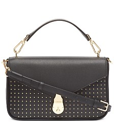 Calvin Klein Lock Leather Studded Crossbody