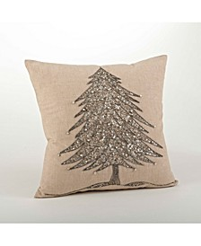 "Beaded Christmas Tree Design Pillow, 18"" x 18"""