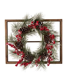 Wooden Window Frame with Flocked Pinecone Berry Wreath