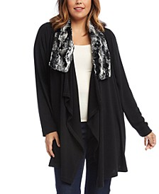 Plus Size Faux-Fur-Collar Drape-Front Cardigan